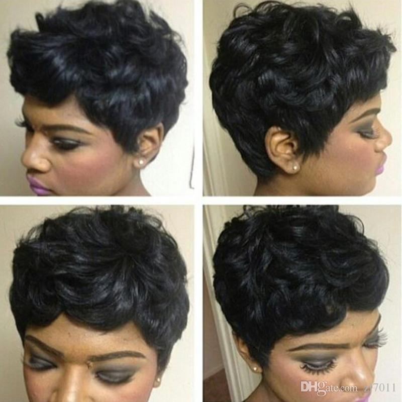 Short Curly Pixie Wigs for Black Women Human