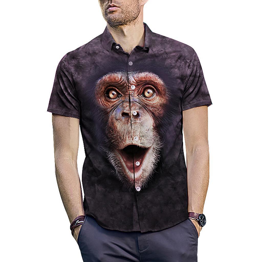 392e0889b4 Compre Orangotango Preto Imprimir Camisa Dos Homens 2019 Moda De Manga  Curta Boate Camisa Dos Homens Slim Fit Camisas Sociais Casuais Camisa  Masculina De ...