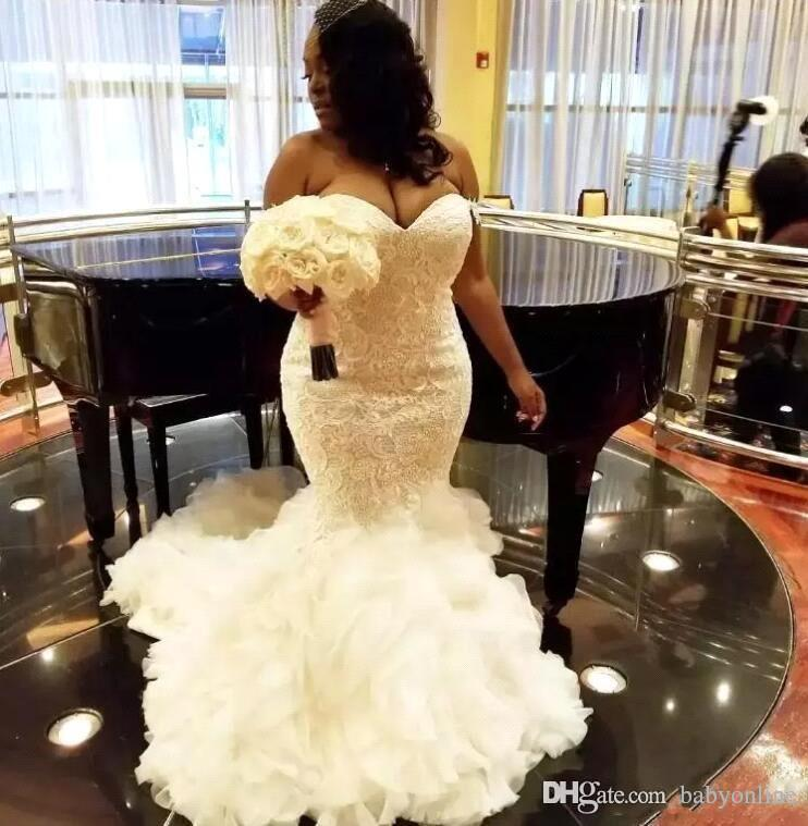 African Plus Size Wedding Dresses Sweetheart Ruffles Mermaid Wedding Dress Lace Up Back Tulle Lace Appliques Dubai Arabic Vestidos BC0462