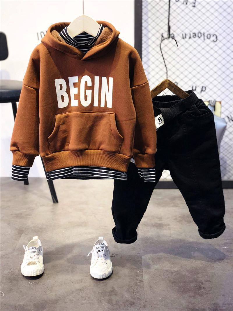6c0f2a56b 2019 WLG Boys Christmas Outfits Kids Boys Thick Velvet Clothing Set Baby  Fashion Fake Two Letter Printed Hoodies And Pant Set From Nextbest09, ...