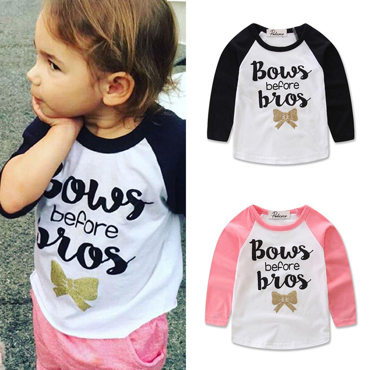 Emmababy 1-4T Bebek Kız Tişörtler Bebek Kız Giyim Pamuk Uzun Kollu Komik Letter Word Baskılı Dış Giyim Sonbahar Sıcak T Gömlek