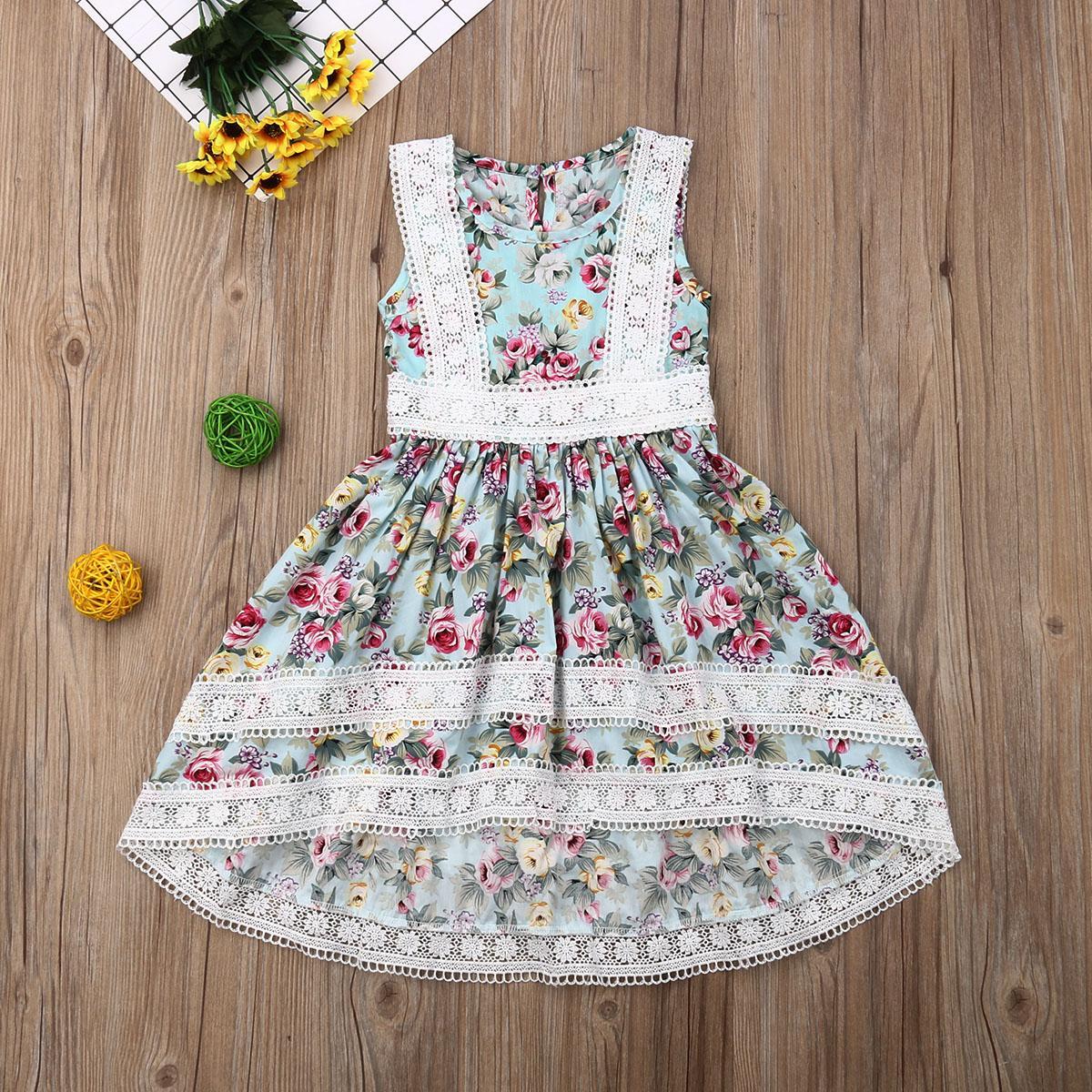 2019 유아 어린이 아기 소녀 민소매 드레스 여름 라운드 넥 블루 꽃 공주 선발 대회 레이스 투투 드레스 의류 2-7Y