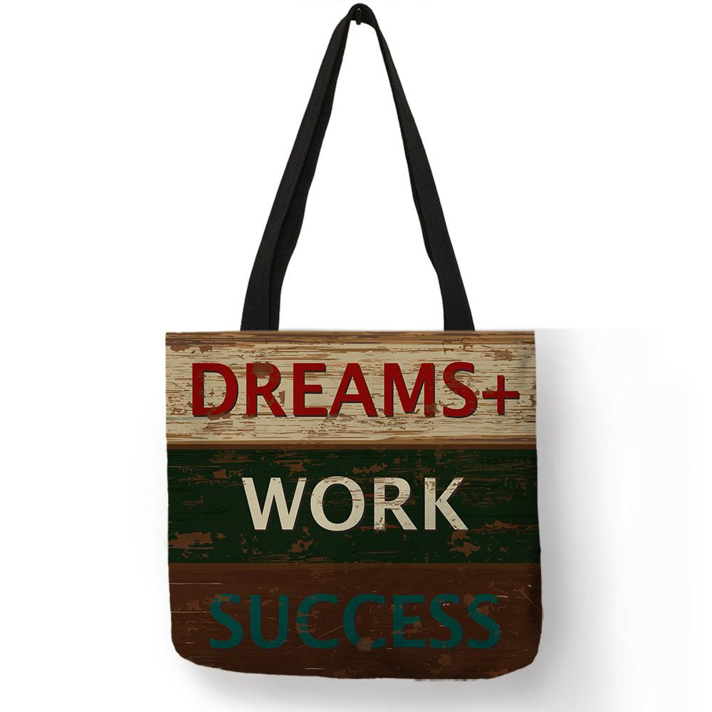 Vintage Classic Design Shoulder Bag Life Love Series Letter Bookshelf  Printed Handbag Linen Durable Portable Office Tote Bags Leather Purses  Cheap Designer ... 7b849d0077896