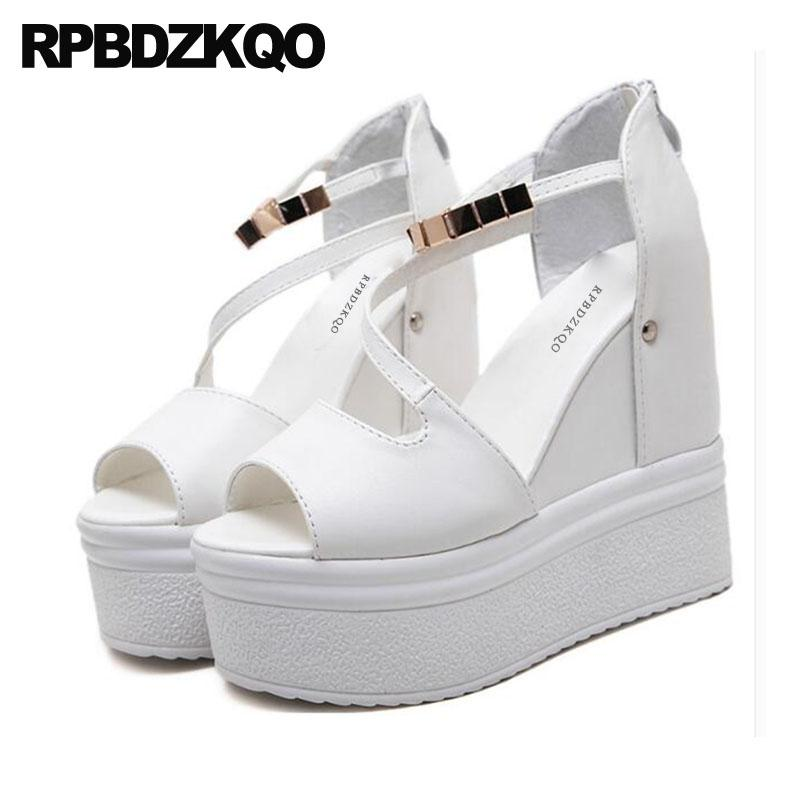 15b16392f692 White Exotic Dancer Pumps Ankle Strap High Heels Women Wedge Platform  Sandals Flatform Shoes Fetish Peep Toe Stripper Chain Sexy Brown Wedges  Gold Wedges ...