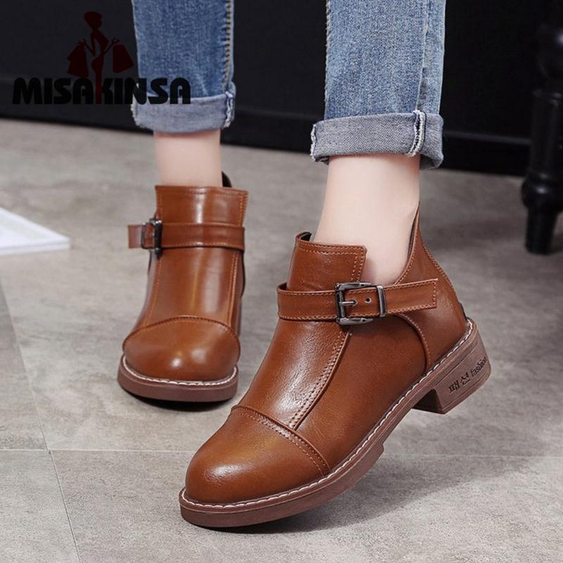 4d24ecdb77 Compre MISAKINSA Botines Para Mujer Zapatos De Invierno Botas Cortas  Zapatos Moda Para Mujer Hebilla De Metal Simple Calzado Para Mujer Tamaño  35 40 A ...