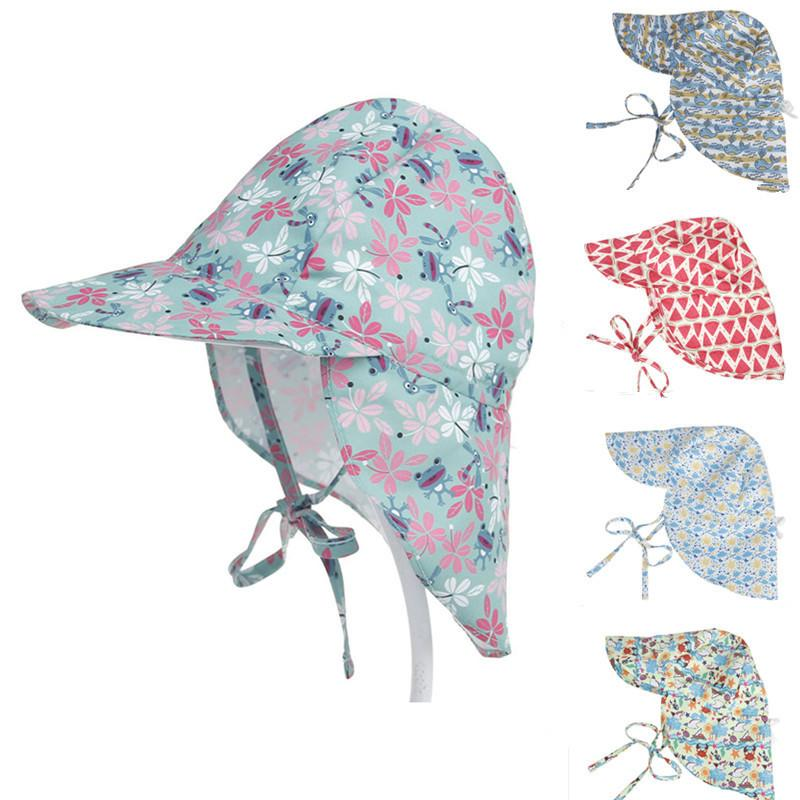 dedb85e45 Outdoor Childrens Printed Swim Hats For Baby Boys Girls Toddler Flap  Swimming Cap Anti-uv Sun Protection Beach Hats Neck Cover