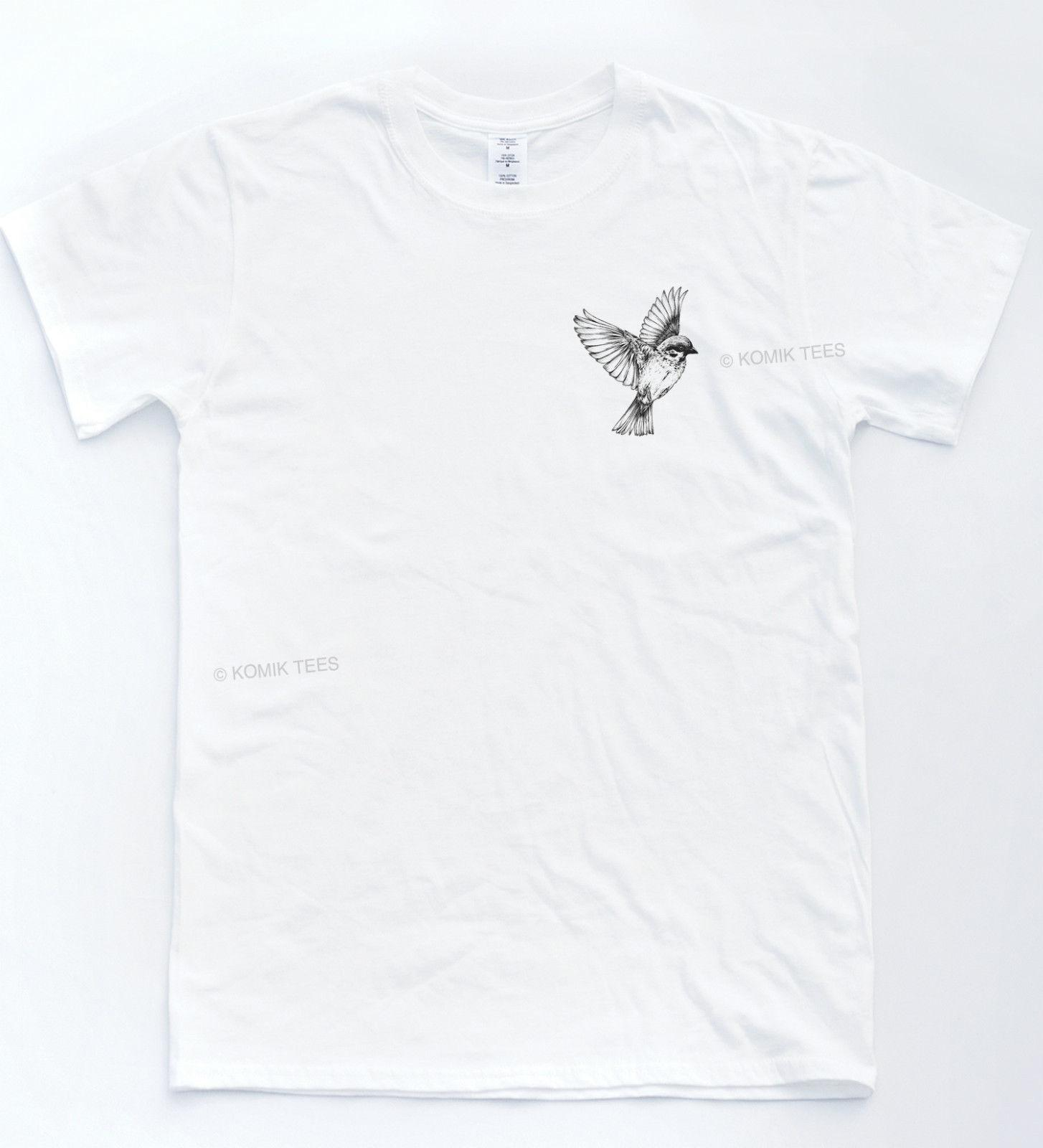 T-shirt à poche oiseau Lit tatoué arraché Savage Turn Sketch Indie Hipster Top vêtements en jean camiseta t-shirt
