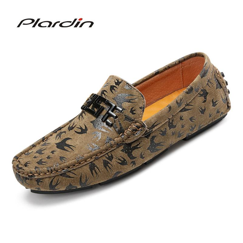 5cde12f1cd3 Plardin New Brand Fashion Casual Men Loafers High Quality Metal Decoration  Appliques Genuine Leather Shoes Man Flats Shoes