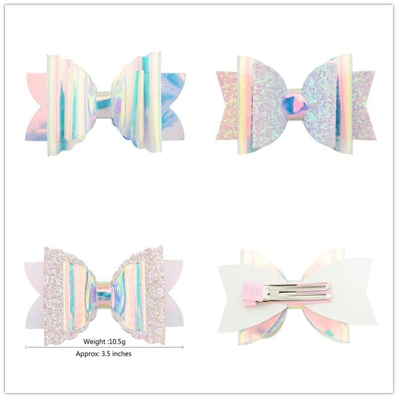Baby Girls INS Sequin Glitter Laser Bowknot Hairpins Double Clips Bows Hair Clip Kids Bling Barrettes Headwear Hair Accessories Cute A51703