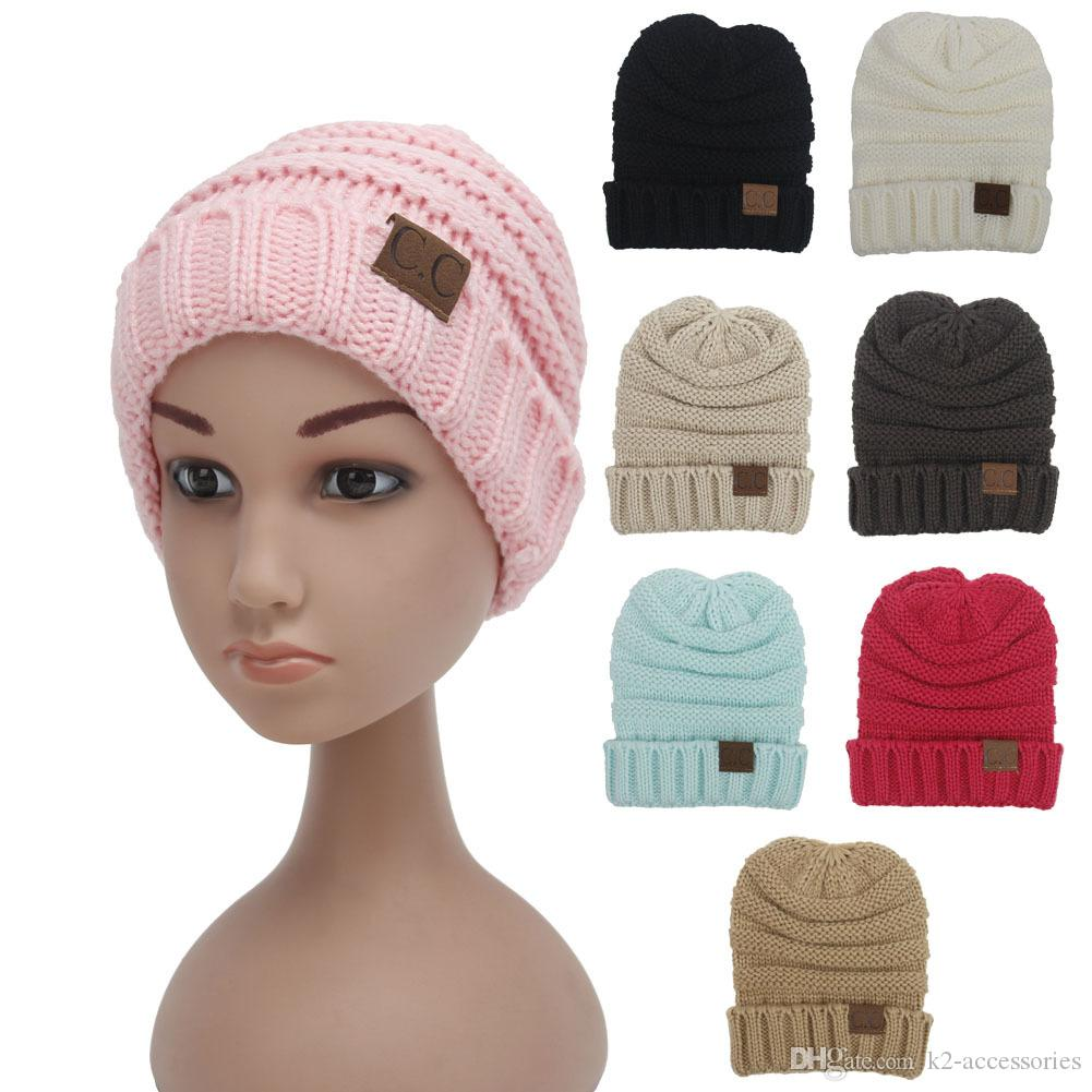 48f3411c Solid Colors Parents Kids Knitted Hats Baby Moms Winter Knitted Hats ...