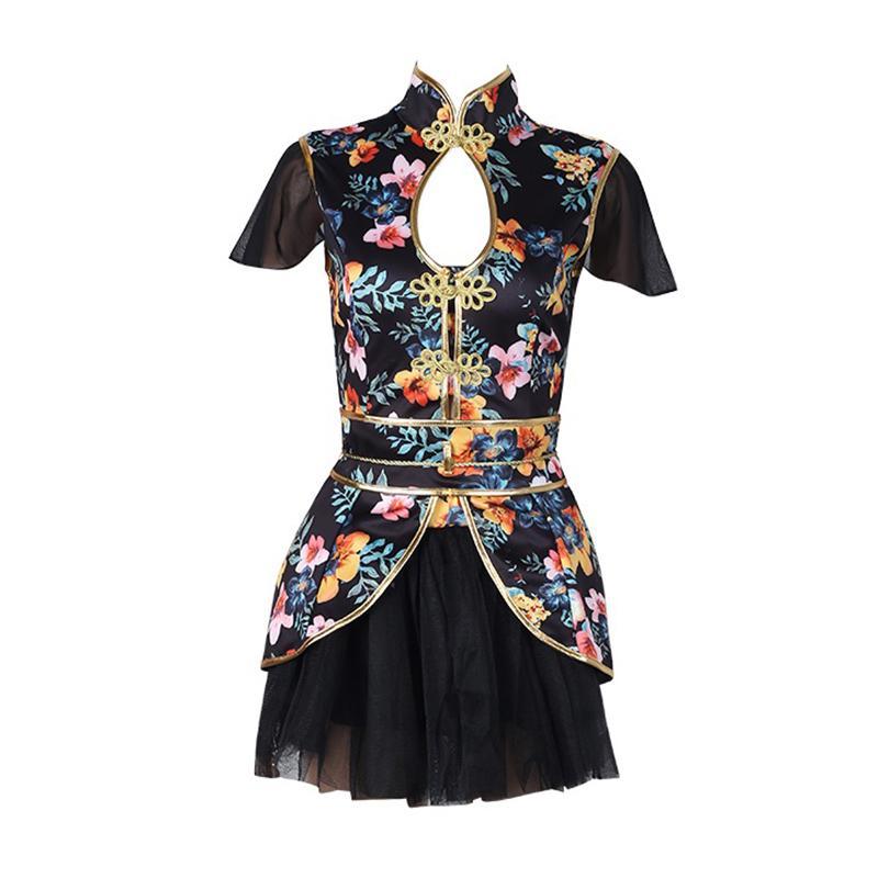 43308c8c62 2019 Print Dance Costume Nightclub Singers Rave Clothes Women DJ Jazz Team  Wear Oriental Dance Outfit Chinese Dancing Dress DC1029 From Pamele