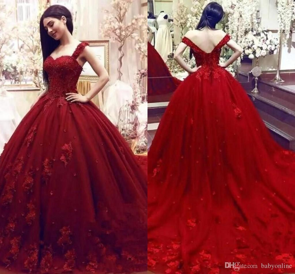 24d51e2be9e 2019 Dark Red Ball Gown Quinceanera Dresses Puffy Tulle Appliques Sequins  Ruched Long Formal Evening Pageant Gowns Sweet 15 Vestidos BC1776 Gorgeous  ...