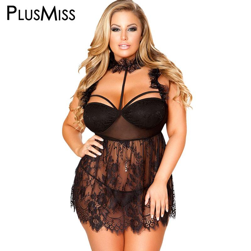 33827b9bbb6 PlusMiss Plus Size Hot Erotic Costume See Through Sexy Transparent Babydoll  Sex Lingerie Dress Big Size Baby Doll Chemise Online with  38.73 Piece on  ...