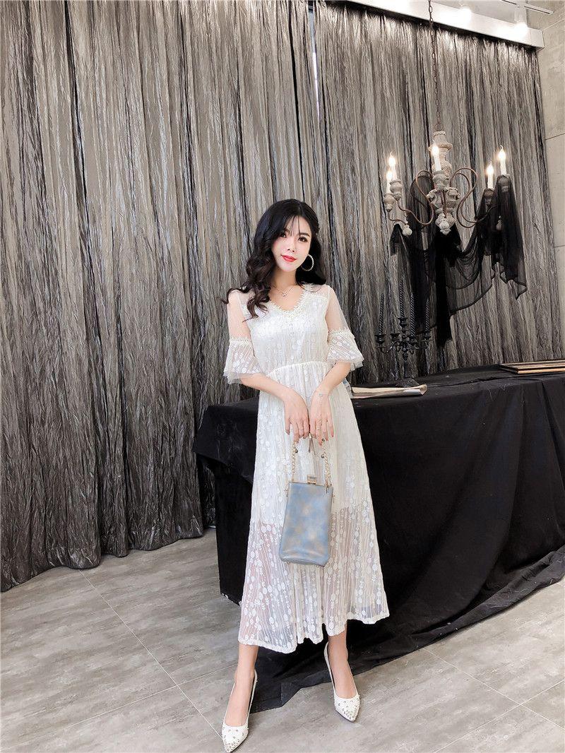 d10bc32be78 Summer 2019 Korean Fashion Sweet Lace Women Clothing Deep V Loudspeaker  Short Sleeve Party Dress A-line Long Skirt QC0192