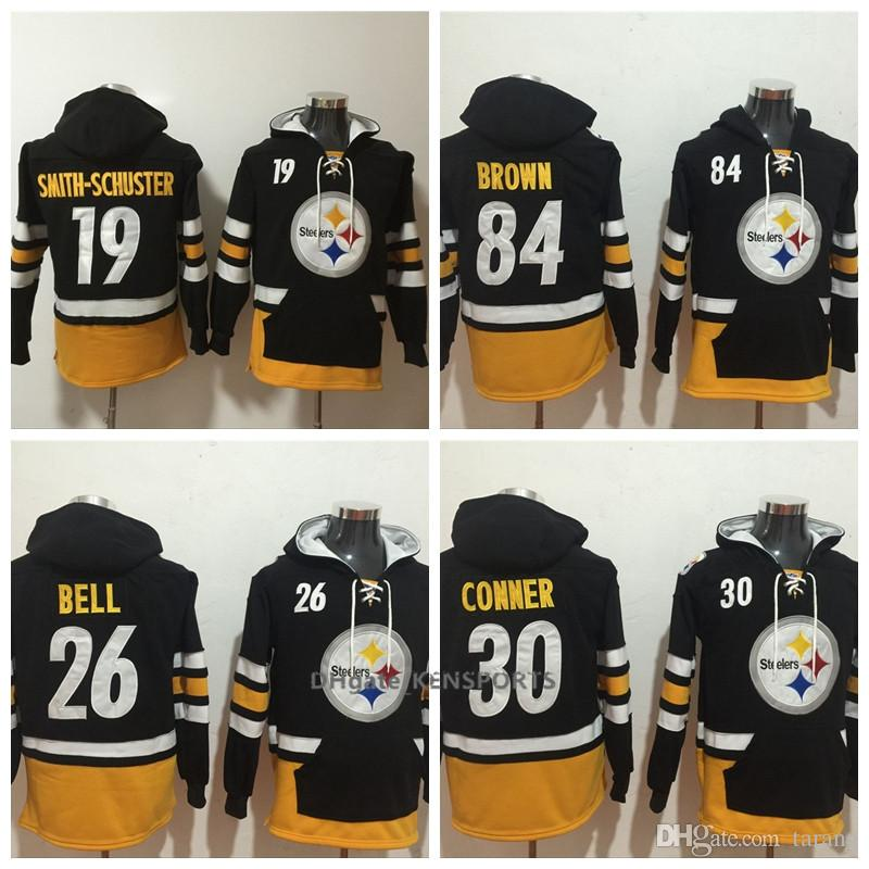 cozy fresh 1cc49 ab489 Men Pittsburgh Steelers Hoodie 30 James Conner 26 Bell 84 Brown 19  Smith-Schuster 7 Roethlisberger American Football Stitched Sweatshirt