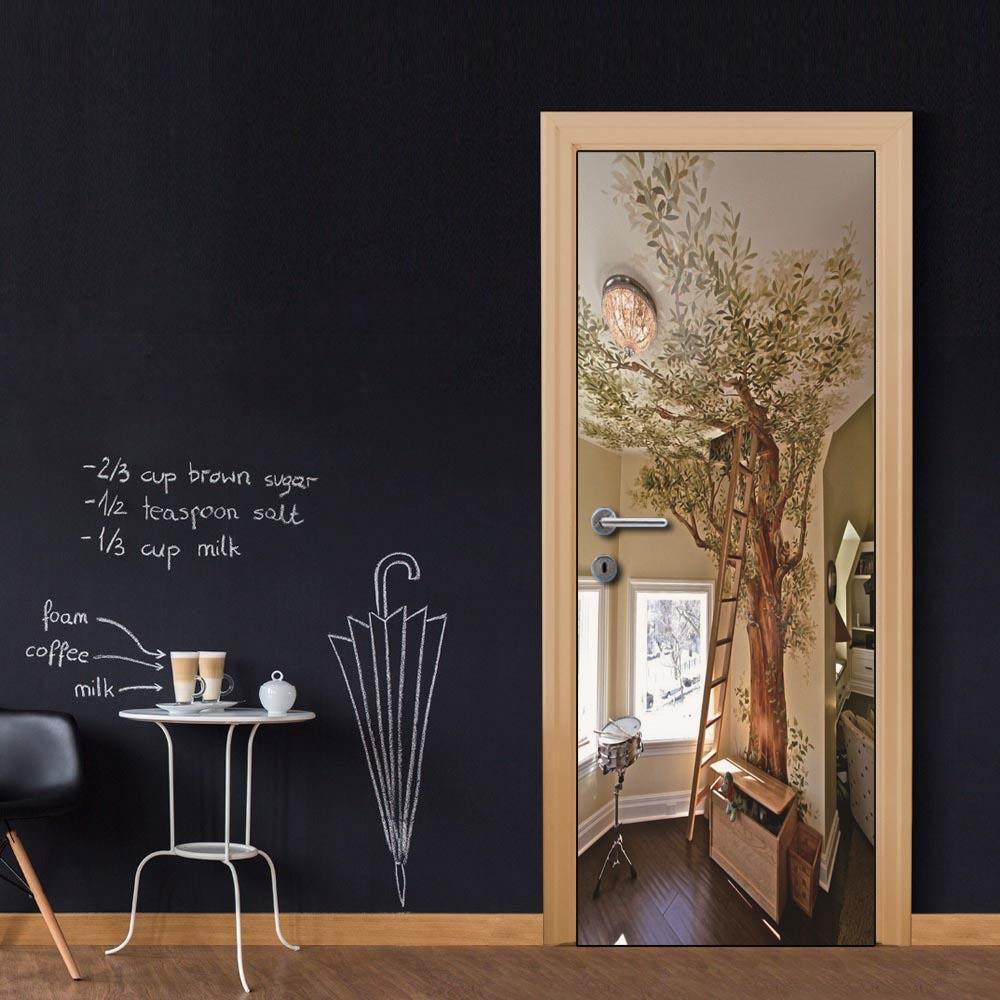 Custom Whole Sheet Tree Graffiti Room Door Wallpaper Stickers for Home Decoration Vinyl Removable Wall Mural 3D Decals