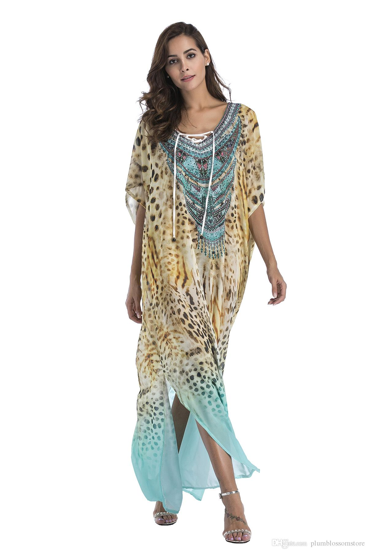b33d40c2164 Plus Size Chiffon Fashion Print Bohemian Long Maxi Dress Women Boho Cover  Ups 2019 New Summer Casual Sundress Beach Sarongs Large Size Robes Dress  Sale Sexy ...