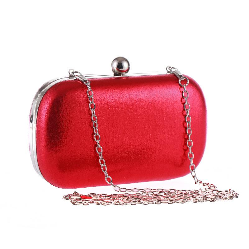 Elegant Purple Women Evening Bag Shoulder Chain Wedding Party Handbag Solid Color Female Small Bag Fashion Lady Purse Bag Clutch