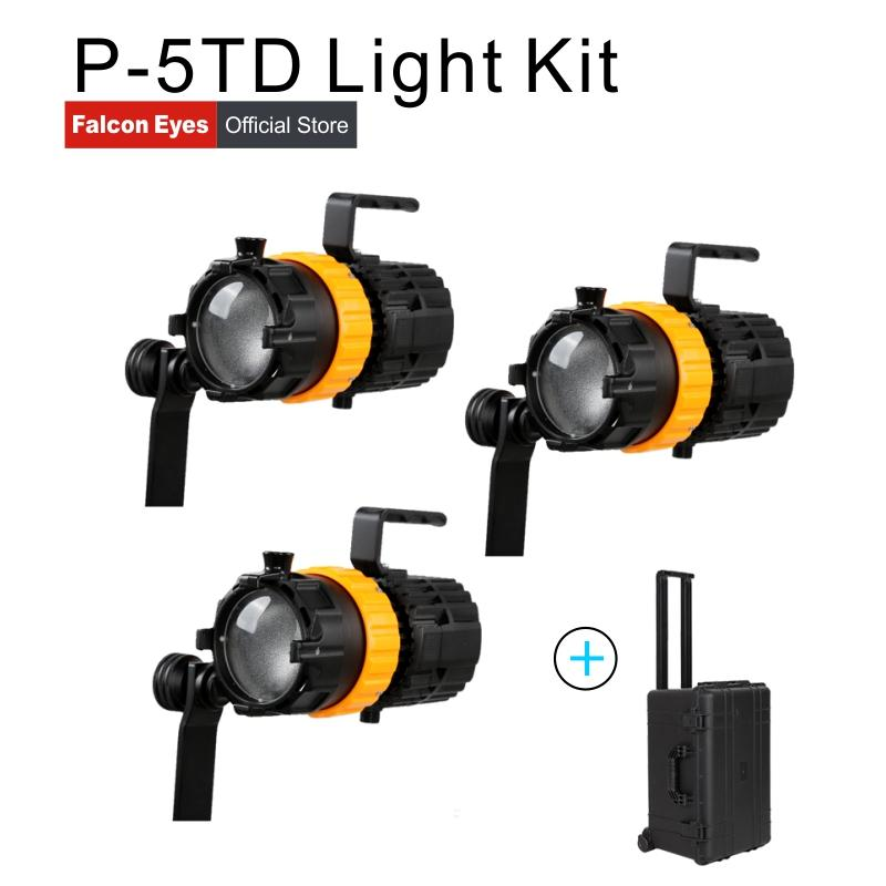 Falcon Eyes 3pcs Mini Spot Lights 150W Video Studio Photography Lighting  Adjustable Focus Length Fill Lamp with Carry bag