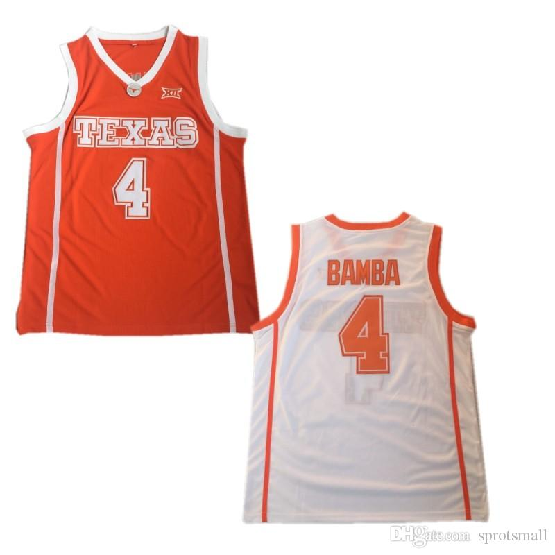 reputable site d14d0 eebbf #4 Mohamed Bamba Basketball Jersey Men's Bamba Texas College Jerseys  Stitched Mohamed Bamba White Orange University Shirt
