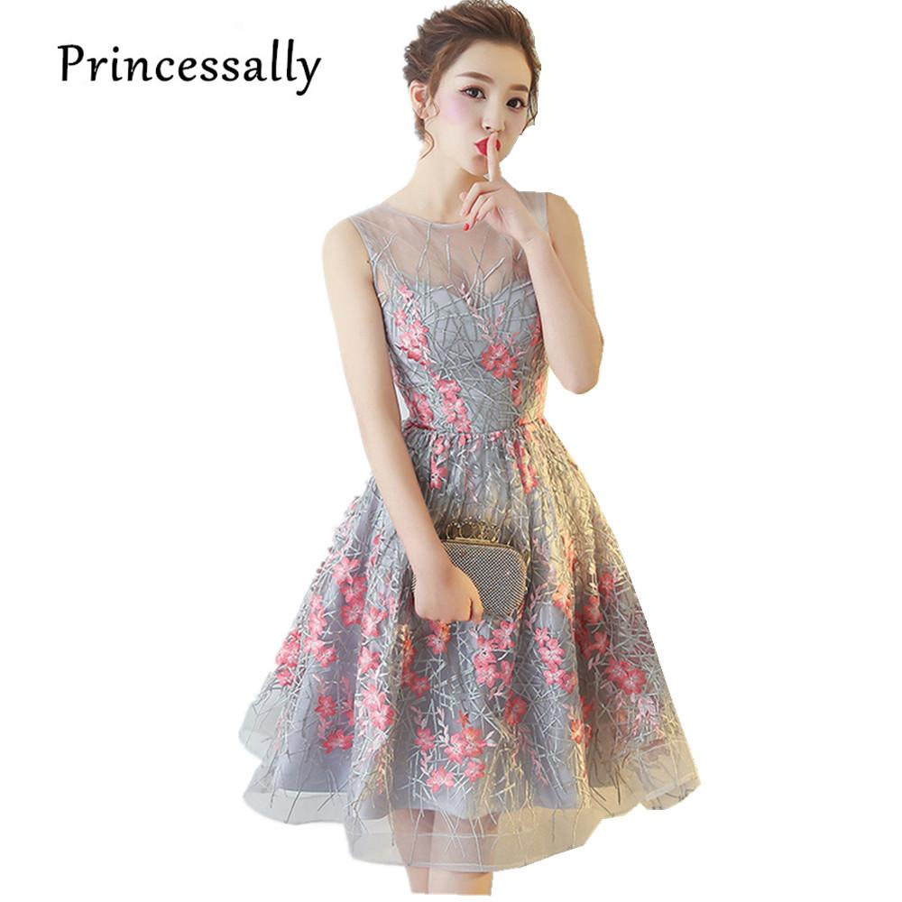 Elegant Grey Cocktail Dresses Knee Length SLeevelss Pink Embroidery Flower Charming Stylish Summer Formal Prom Party Gown