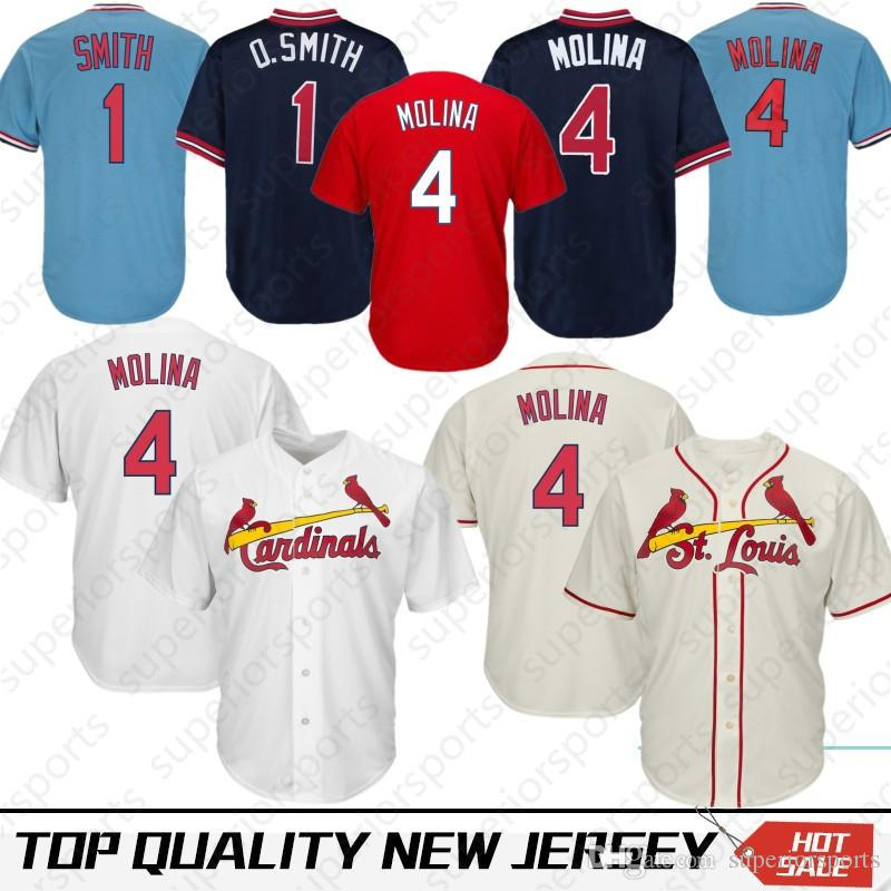 quality design b2341 e17c2 Stitched 4 Yadier Molina St. Louis Cardinals Baseball Jersey 1 Ozzie Smith  25 Dexter Fowler Jerseys