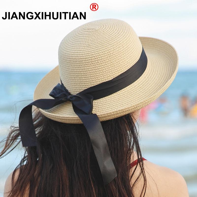 c8035a099 2018 summer straw hat women big wide brim beach hat sun foldable sun block  UV protection panama bone chapeu feminino