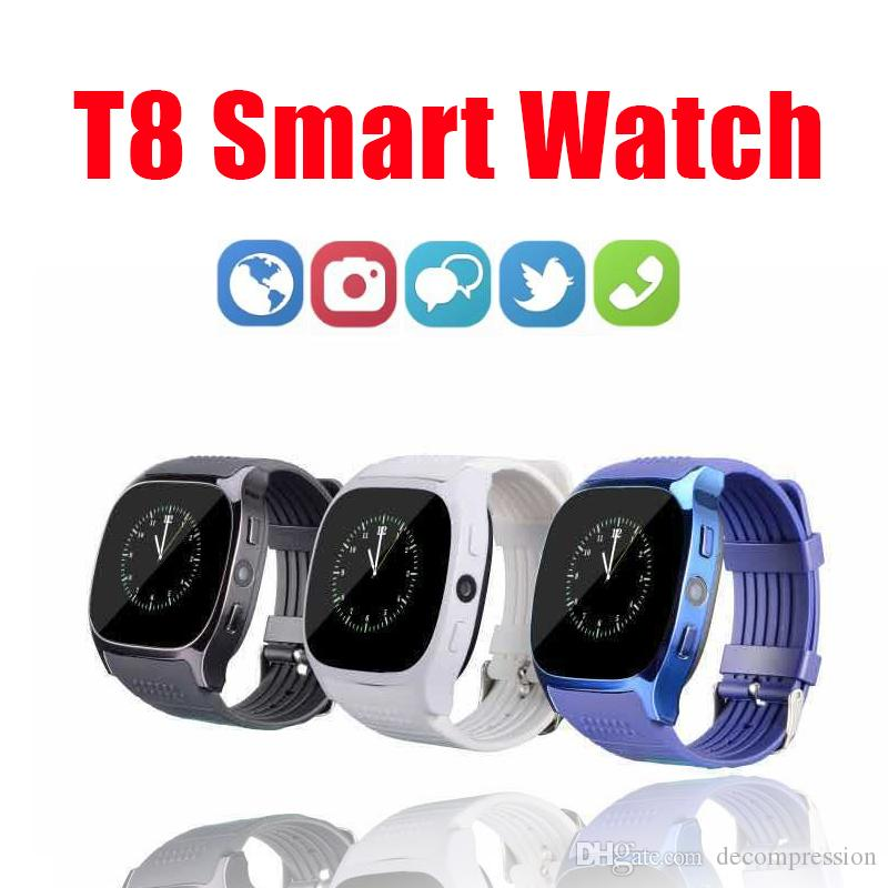 Hot Sale T8 Bluetooth Smart Watch Support SIM TF Card LBS Locating with 0.3MP camera smartwatch Sports Wristwatch for Android