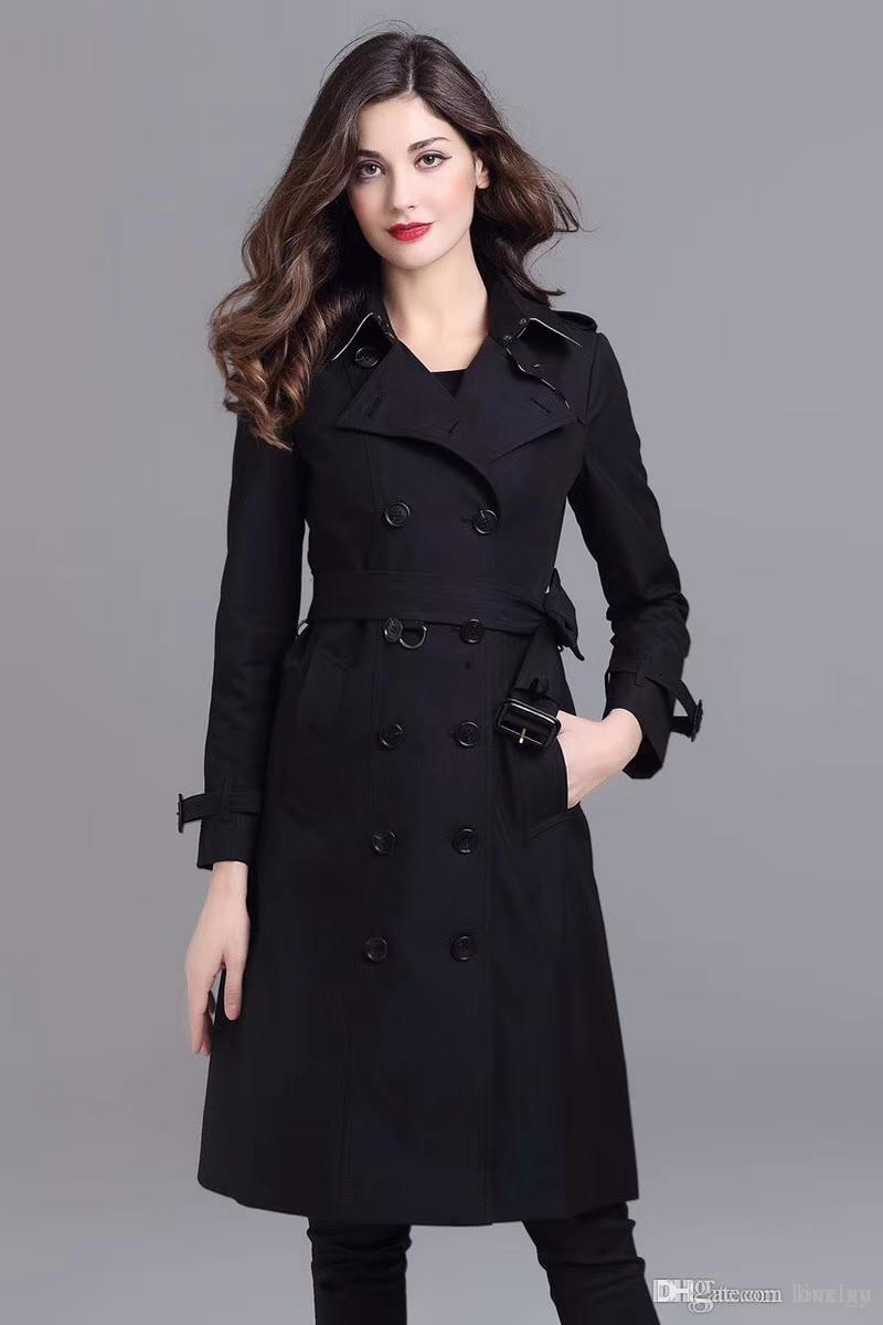 Women's Trench Coats Double Breasted Long Windbreaker Belt Waterproof British Coat New high-end English style autumn winter Solid color QS4
