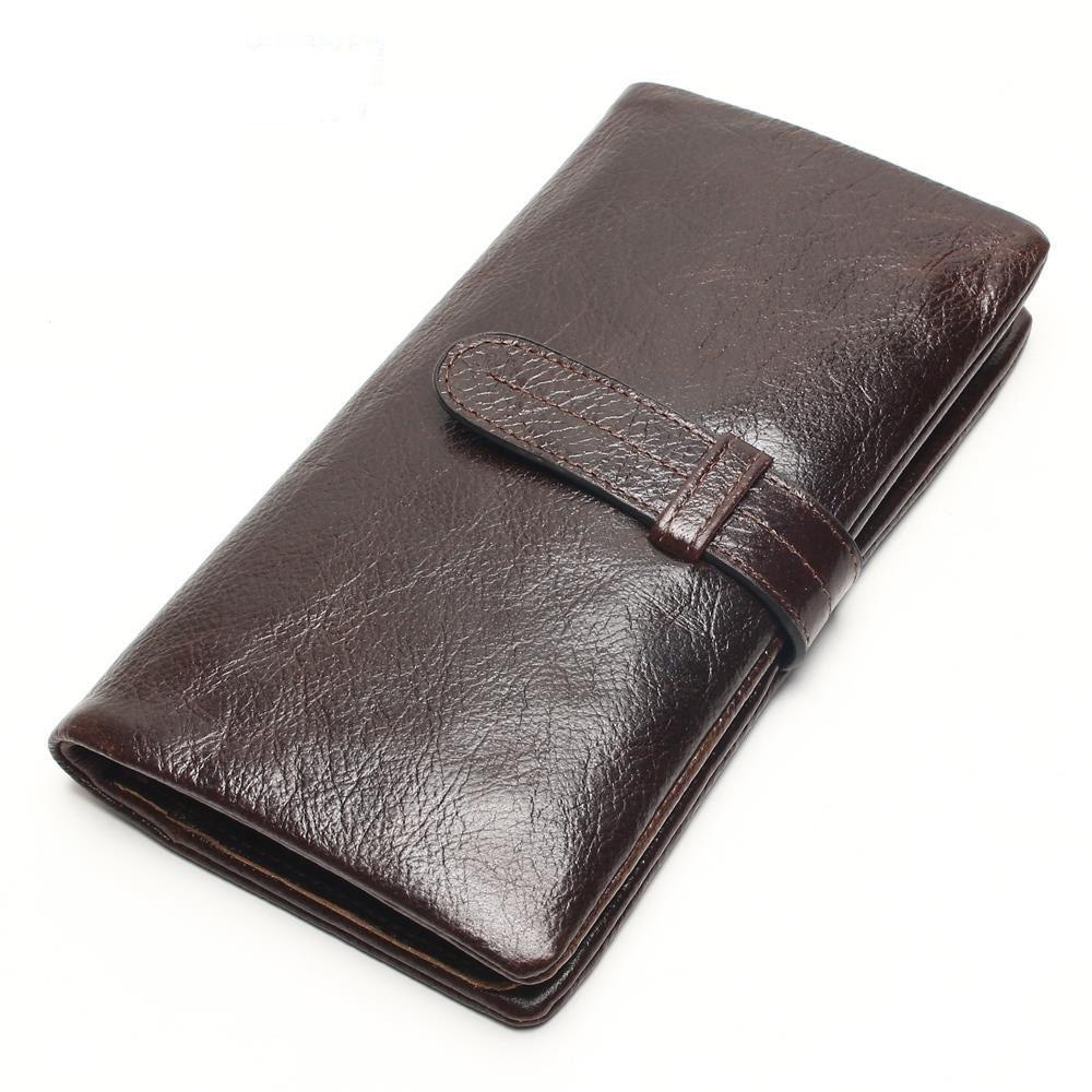 Classic Long Wallet 100% Top Genuine Oil Wax Cowhide Leather Long Bifold Wallets Purse Vintage Designer Coin Purse