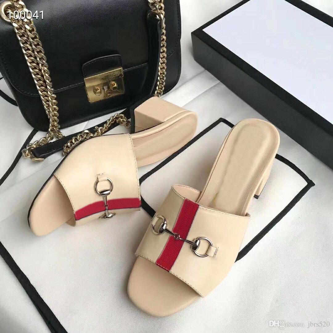 mujeres del diseñador de moda de verano nueva playa zapatillas talón Lazy Medio fracasos cuero de la señora medio deslizador de lujo El metal deslizadores de señoras del tamaño 35-42 41