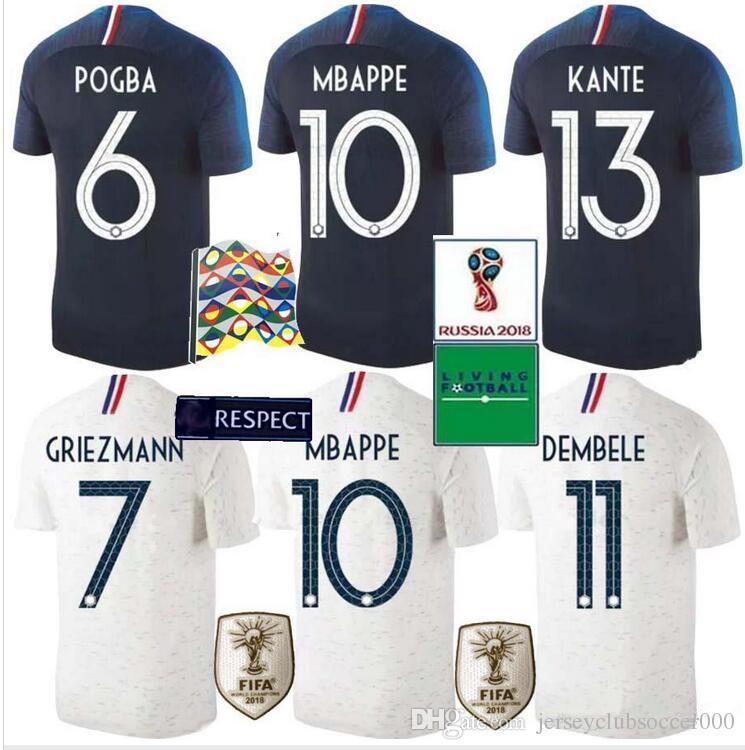 Compre Qualificador Do EURO 2 Estrelas Tailândia GRIEZMANN MBAPPE POGBA  Camisas De Futebol 2018 Camisas Do Campeonato Do Mundo DEMBELE MARTIAL  KANTE ... 801b6ba40ffc7