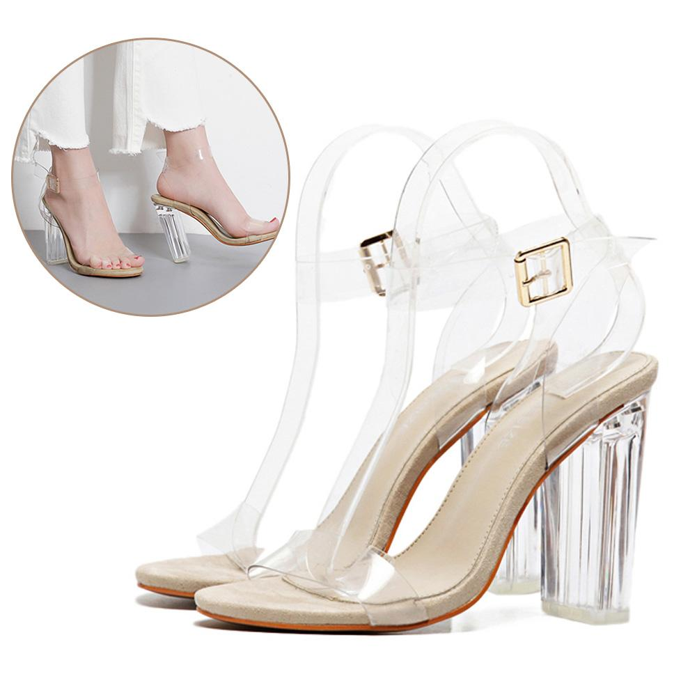 472b1783f53 Sexy Shoes Gladiator Women Pumps Perspex High Heels Platform PVC Transparent  Crystal Classic Buckle Strap Fashion UK 2019 From Koolless
