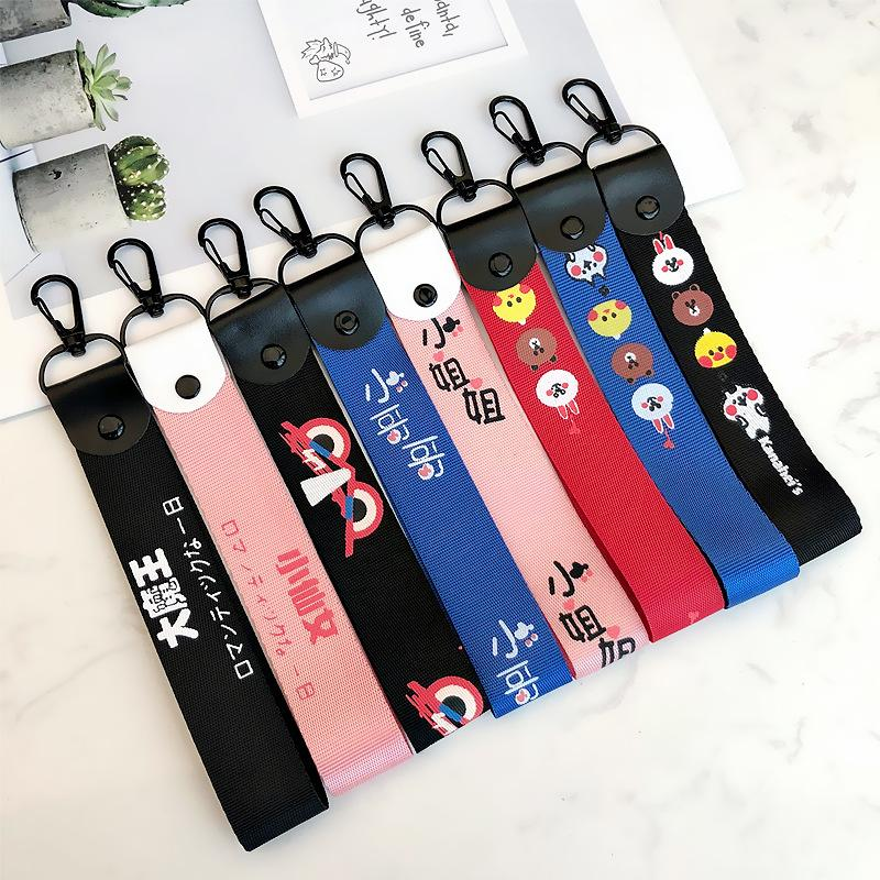 Cute Red Blue Ribbon Band Keychain Boys Girls Wristband Car Keyring Charms Short Ribbons for Phone Case Wallet Key Chain