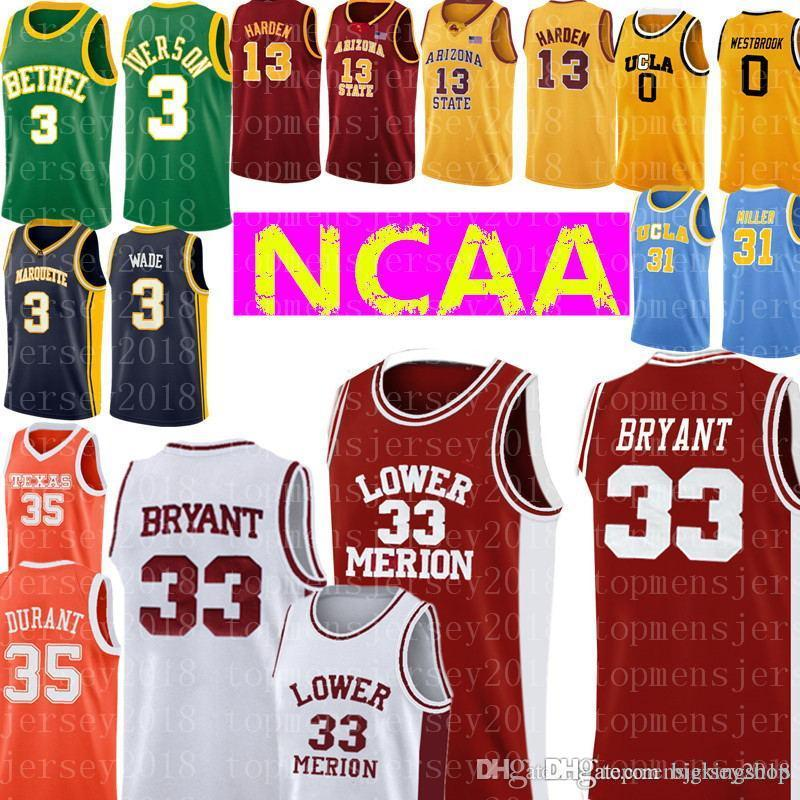 Lower Merion Colégio 33 Kobe Bryant Jersey Mens Branco Red Bordados Basketball Jerseys atacado baratos 35 Kevin Durant Jersey