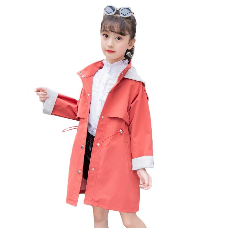 2d5fb8fd1 Baby Girls Trench Tops Coats 2018 New Autumn Solid Cotton Hooded ...