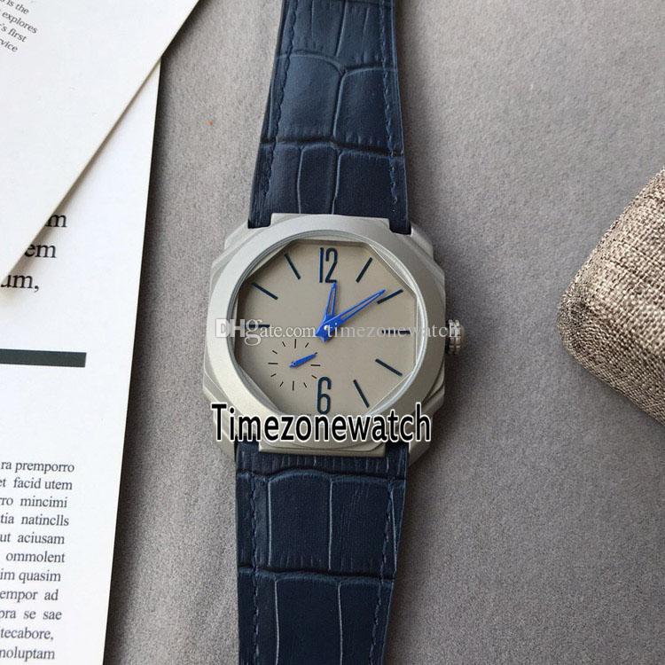 finest selection e0618 d8369 New OTCO BGO40C14TTXTAUTO/L 102945 42mm Titanium Steel Gray Dial Blue Mark  Automatic Mens Watch Blue Leather Watches Timezonewatch E13b2