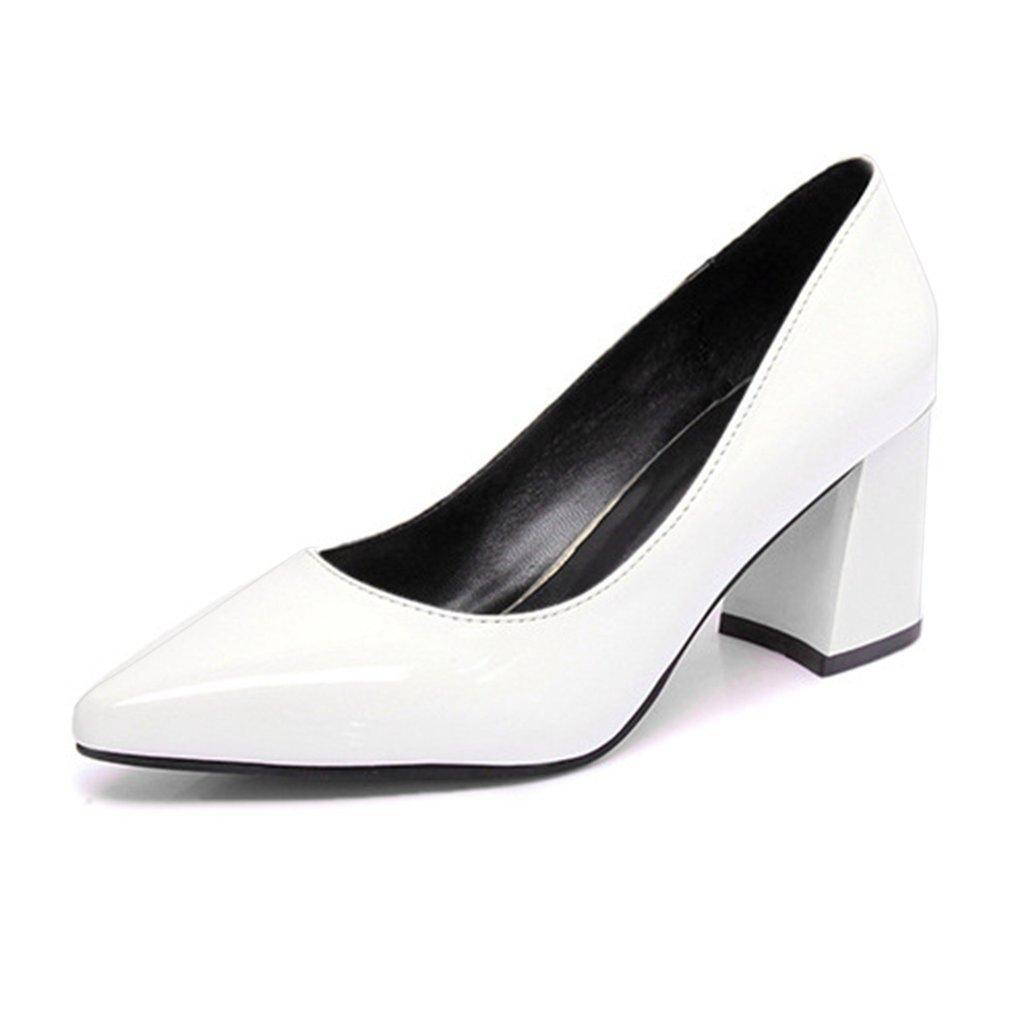9f1e640d4e70 2019 Dress Trendy Design Women High Heels Pointed Toe Shoes Luxury Ladies  Patent Leather Footwear Thick High Heeled Shoes Leather Shoes For Men Mens  ...