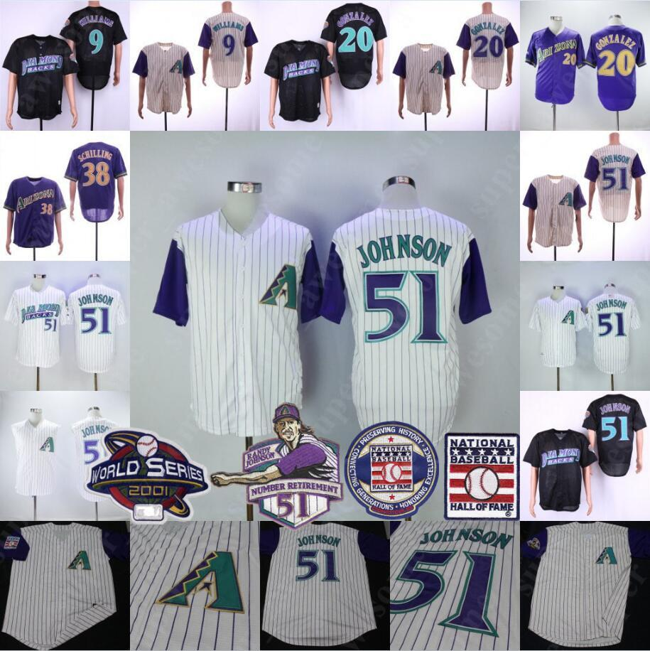 the latest c391d aacd3 51 Randy Johnson Jersey With Hall of Fame Patch 38 Curt Schilling 20 Luis  Gonzalez 9 Matt Williams Arizon Diamondbacks Baseball Jerseys