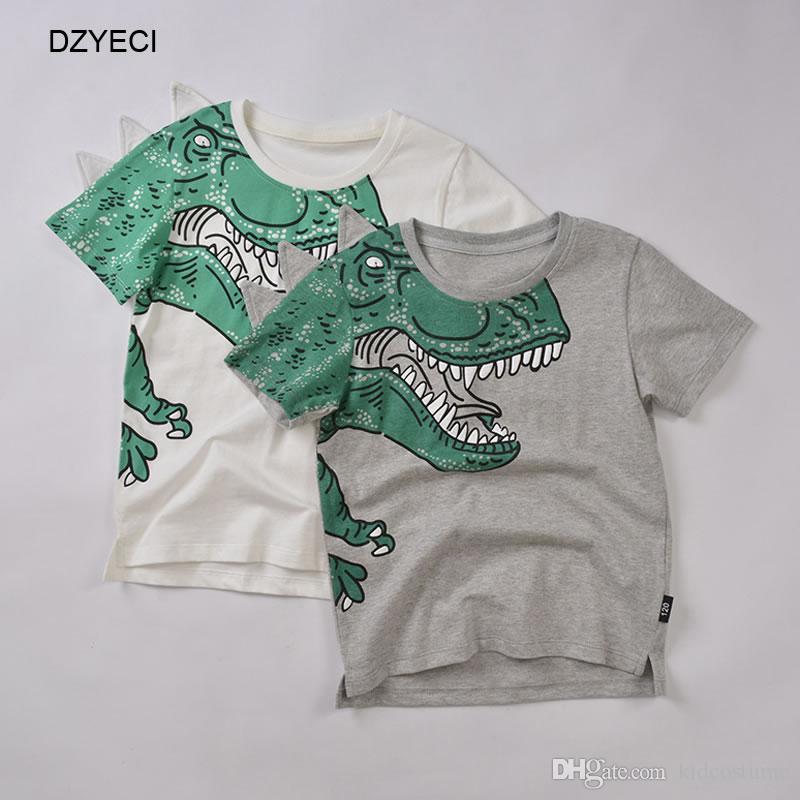 5bbe5bb15 2019 Summer Baby Boy Dinosaur Print T Shirt Clothes Fashion Children ...