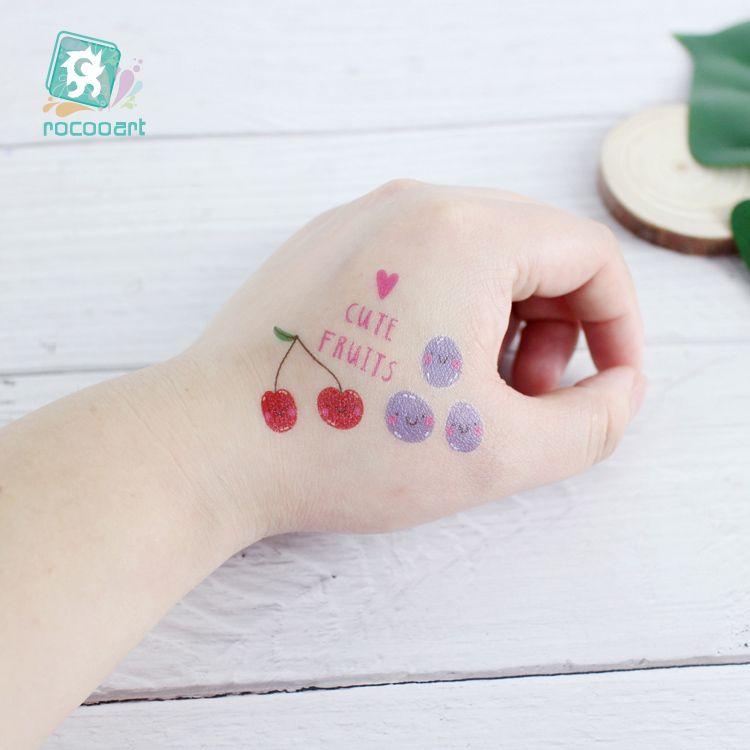 Rocooart Cartoon Fruit Tattoo For Kid Cute Fake Taty Children Tatouage Temporaire Body Art Waterproof Temporary Tattoo Sticker.