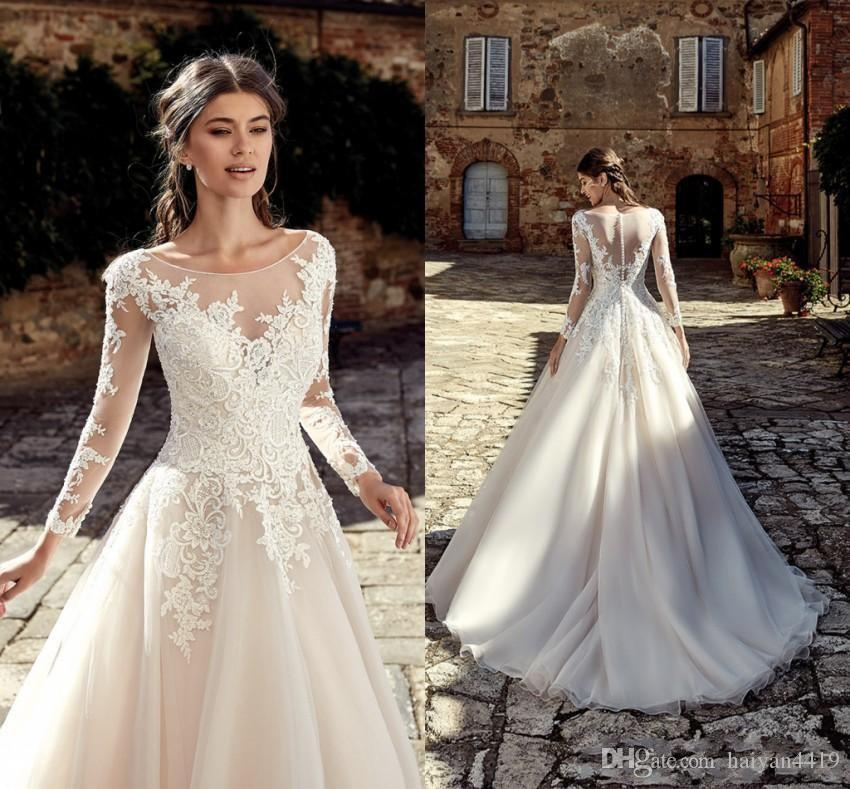 6e91abce56c Discount 2019 New Arrival A Line Wedding Dresses Sheer Scoop Neck Long  Sleeves Tulle Lace Appliques Sheer Back Sweep Train Plus Size Bridal Gowns  Short ...