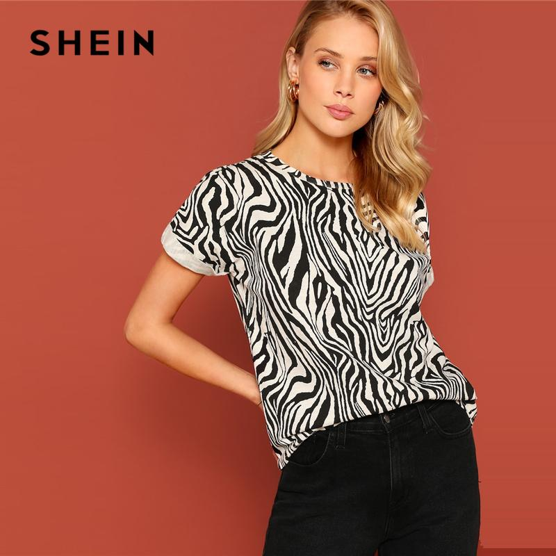255f53af0448 2019 SHEIN Black And White Roll Up Cuff Animal Zebra Print Top ...