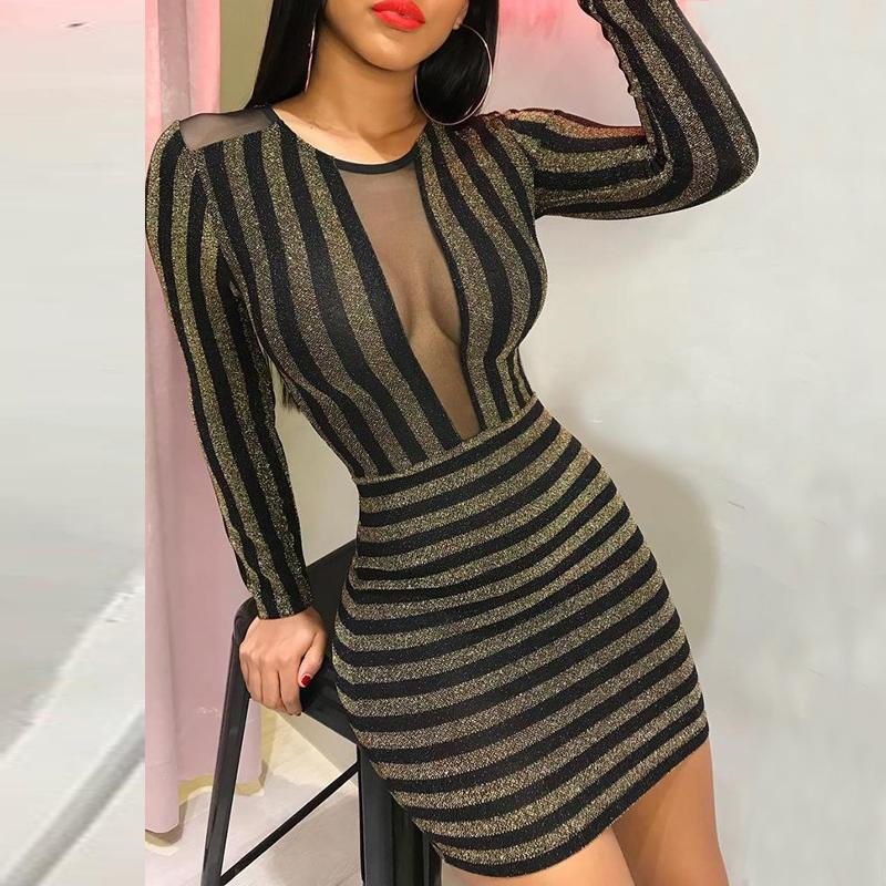 ef090d93aa Sheer mesh glitter dress Women long sleeve bodycon party dresses Sexy front  see through striped dress Summer mini vestidos mujer