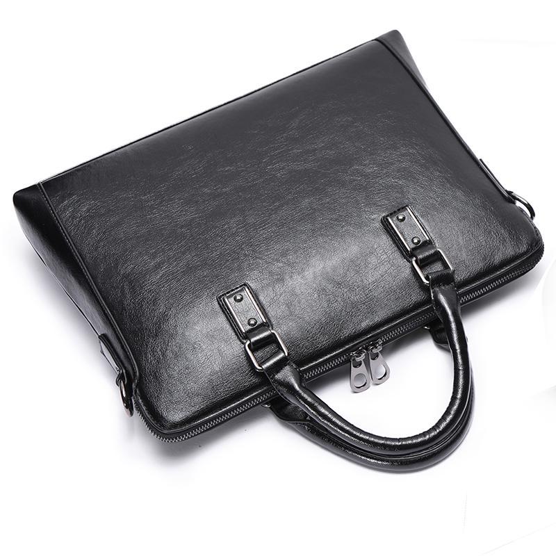 ee103304062d New Leather Men s Shoulder bag Messenger bag Men s Leather Computer 13 14  Inch Briefcase for Notebook Business Travel