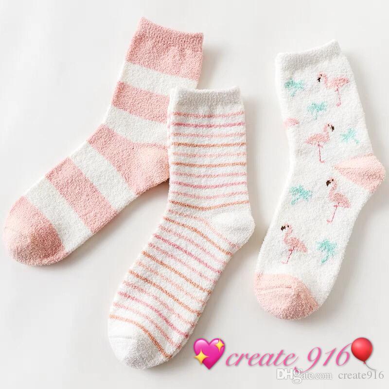 2019 Create916 Home Style Sleep Socks Plush Cute 100 Coral Plush