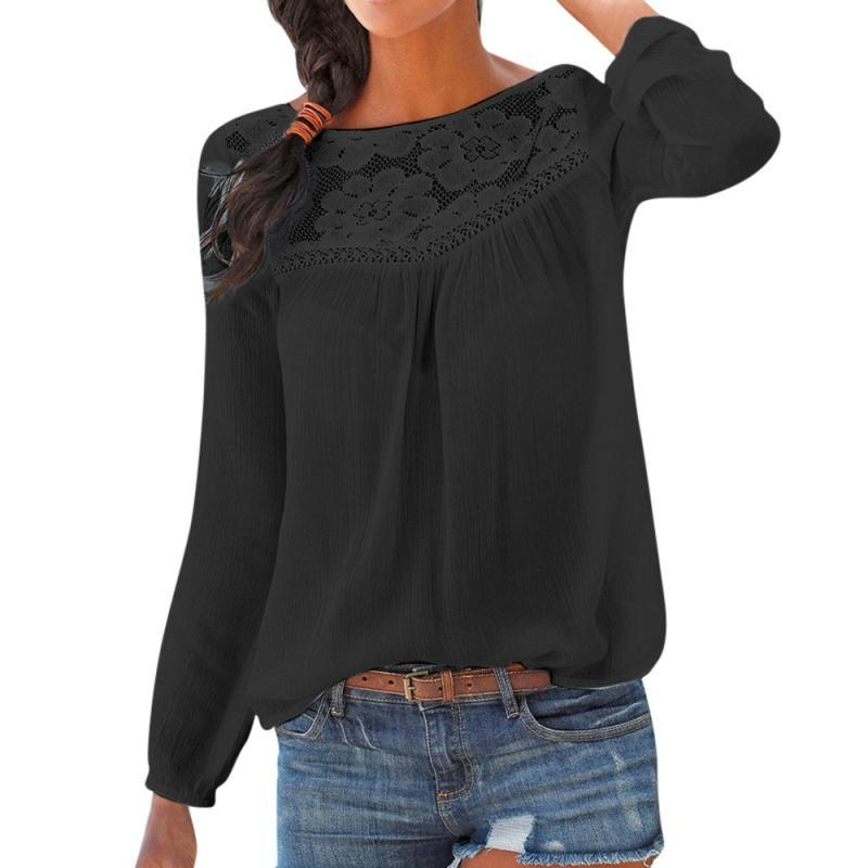 Women's Clothing Feitong Fashion Lace Hollow Out Black Blouse Women Ladies Casual Long Sleeve 2019 Spring Summer Patchwork Shirt Blusa Tops Shirt