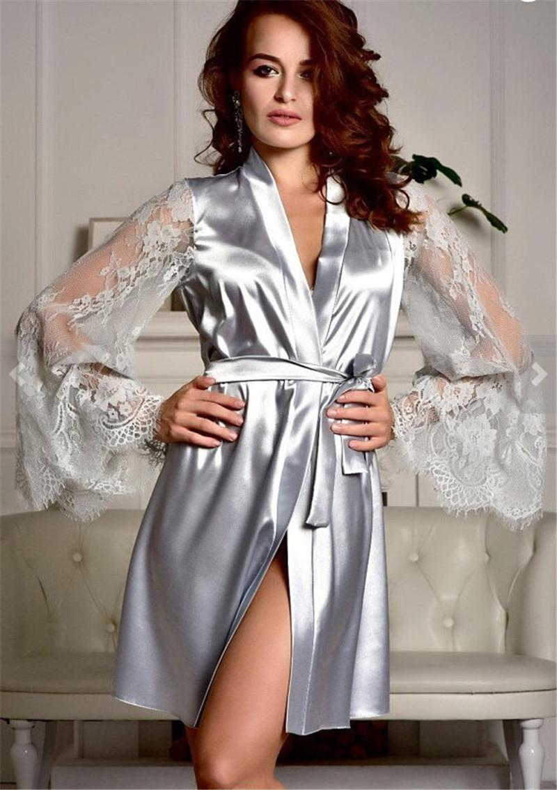 Sexy Women Robe Pyjamas Fashion Perspective Lace Sleeve Comfortable Home Robe Sets with Sashes Womens Sleepwear