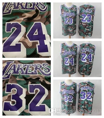 a01c8b4689ba 2019 Kobe 24 Bryant LeBron 23 James Mens 32 Johnson Los Angeles LAK Laker  Mitchell   Ness Straight Fire Camo Swingman Basketball Jersey From Dodoya