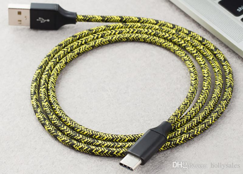 USB 케이블 1M 3FT 2M 6FT 3M 10FT 브레이드 마이크로 USB 코드 2.4A 빠른 데이터 동기화 유형 C 전화 X 화웨이 P30 LG Android 용